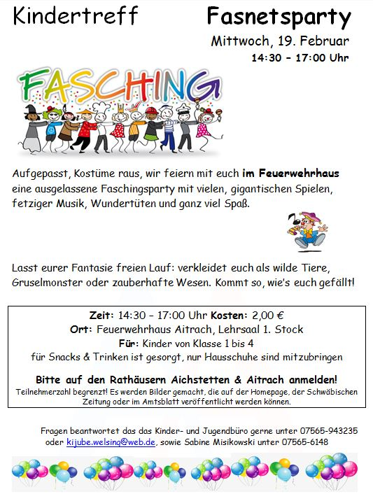"Flyer Kindertreff ""Fasnetsparty"""